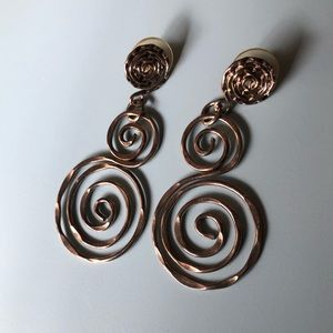 Jewelry - Vintage 80's Silver Plated Large Drop Earrings